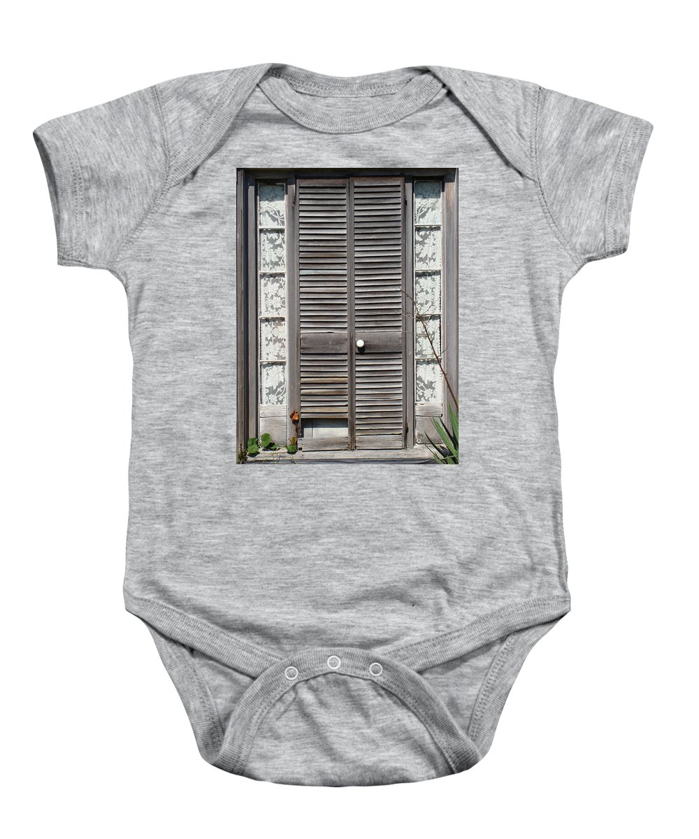 Victorian Louvered Doors Baby Onesie featuring the photograph This Old Door by Ira Shander