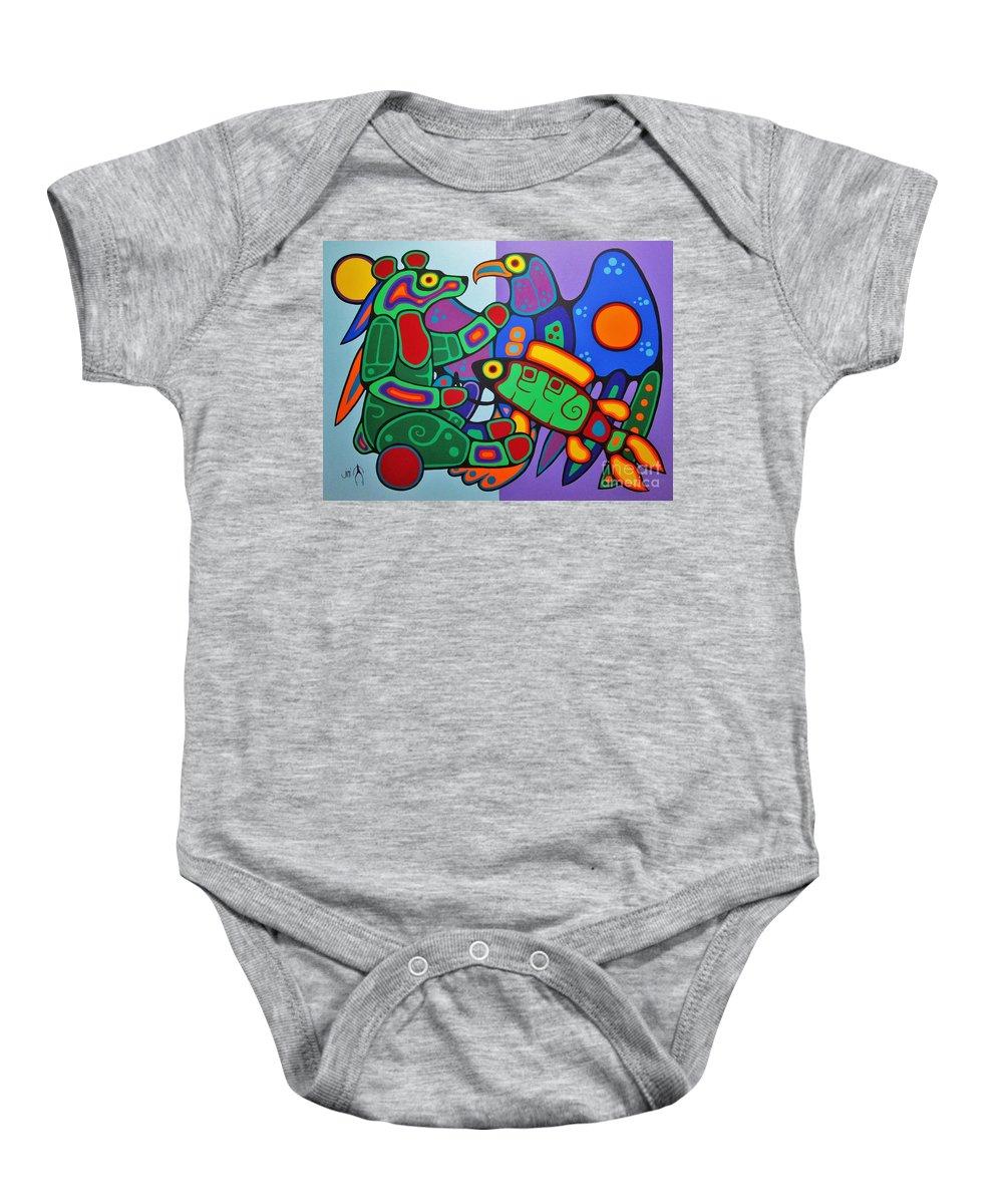 Bear Baby Onesie featuring the painting Three Clans Meet by Jim Oskineegish
