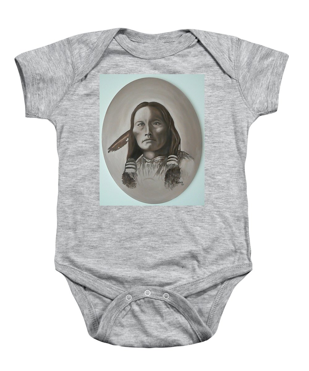 Michael Baby Onesie featuring the painting Three Fingers by Michael TMAD Finney