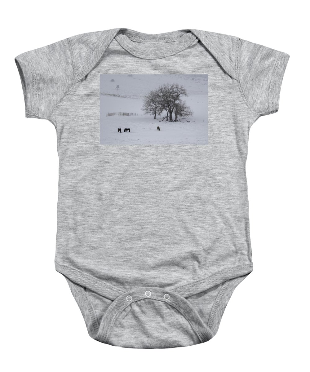 Wintery Scene Baby Onesie featuring the photograph Three Horses by Kenneth Blye