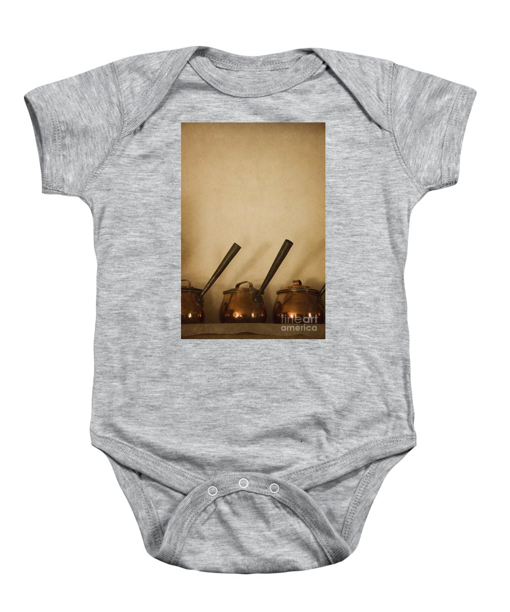 Pots Baby Onesie featuring the photograph Three Pots by Margie Hurwich