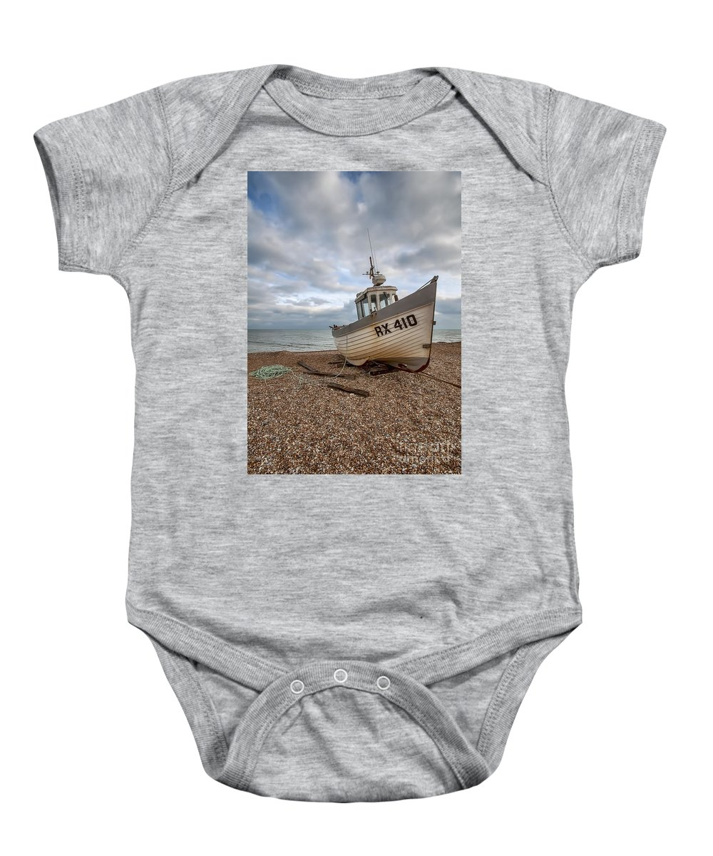 Fishing Boat Dungeness Baby Onesie featuring the photograph Three Sisters Fishing Boat by Bel Menpes