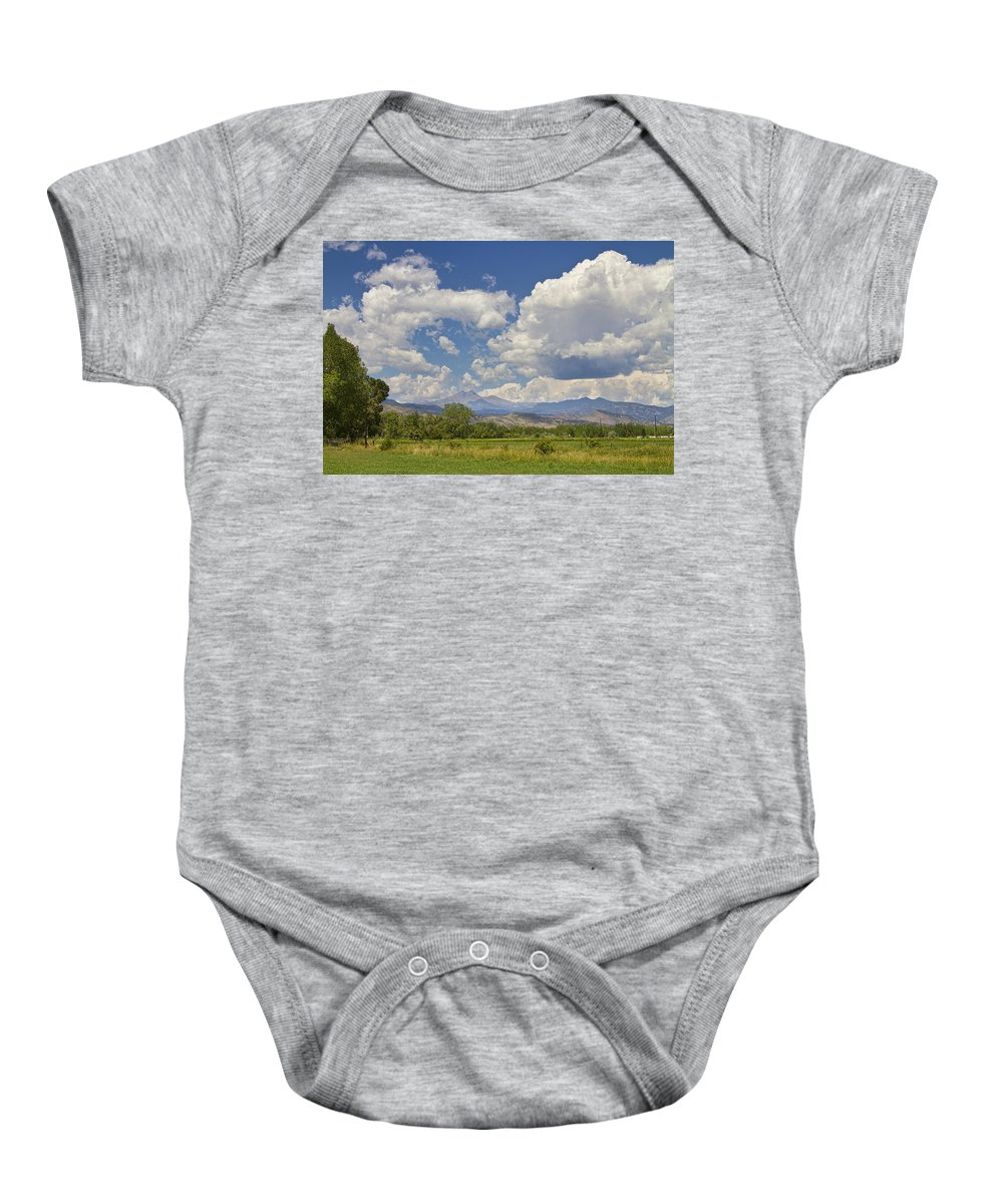 Clouds Baby Onesie featuring the photograph Thunderstorm Clouds Boiling Over The Colorado Rocky Mountains by James BO Insogna