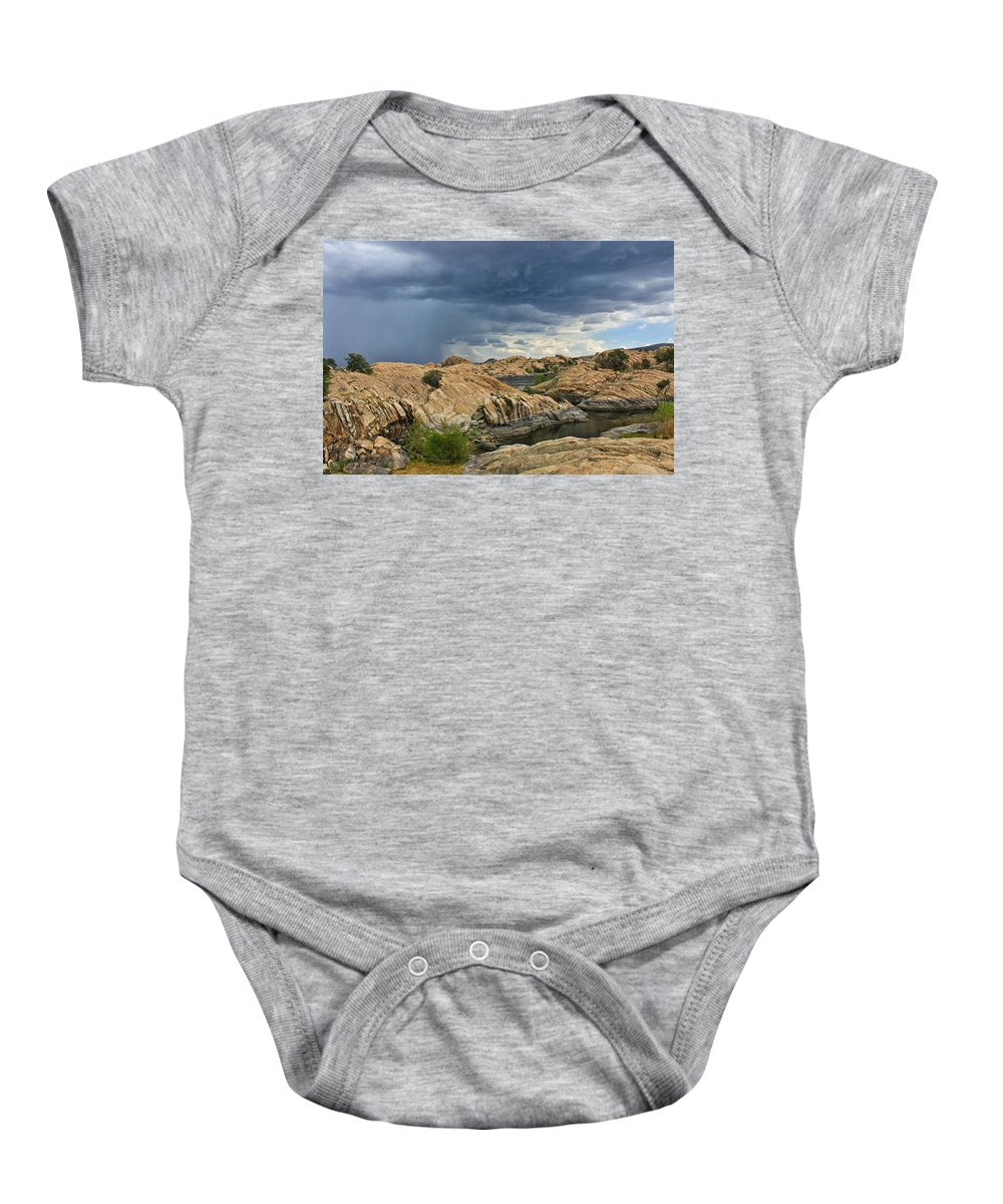 Storm Baby Onesie featuring the photograph Thunderstorm In Prescott by Lauri Novak