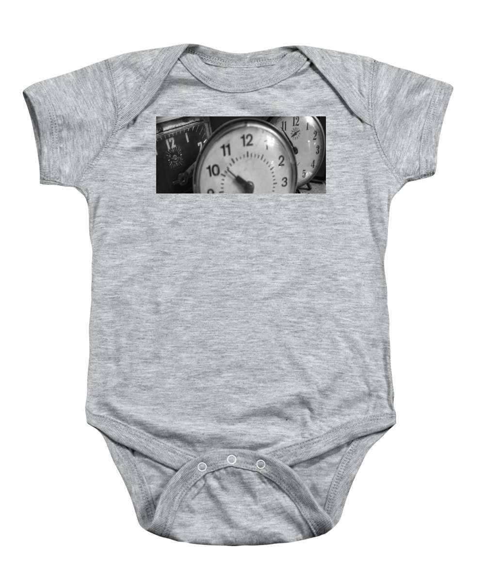 Baby Onesie featuring the photograph Tick Tock Goes The Clock 3 by Cathy Anderson