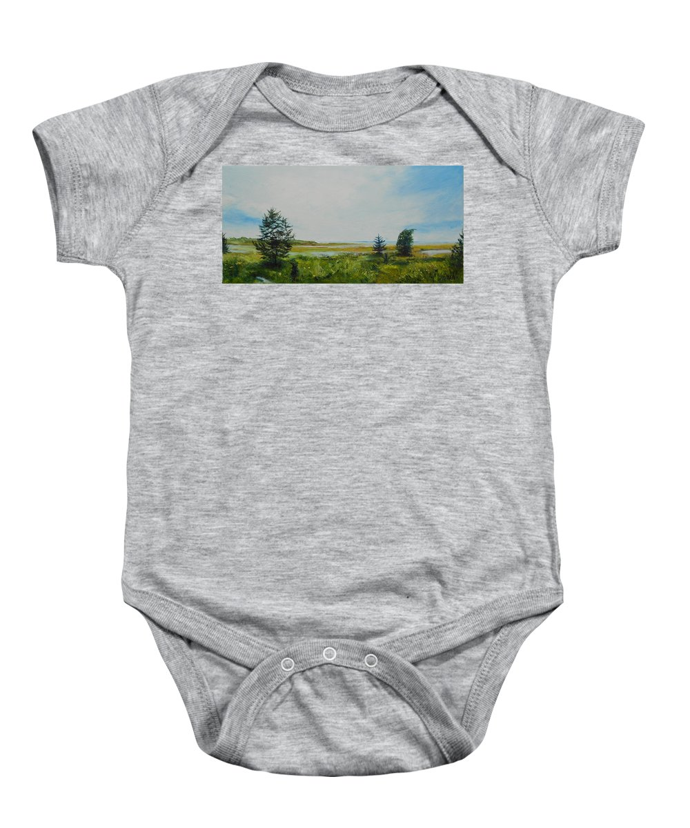 Water Baby Onesie featuring the painting Tidal Plains by Susan Hanna