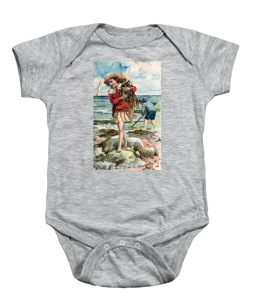Tide Pools At The Beach Baby Onesie featuring the digital art Tide Pools At The Beach by Unknown