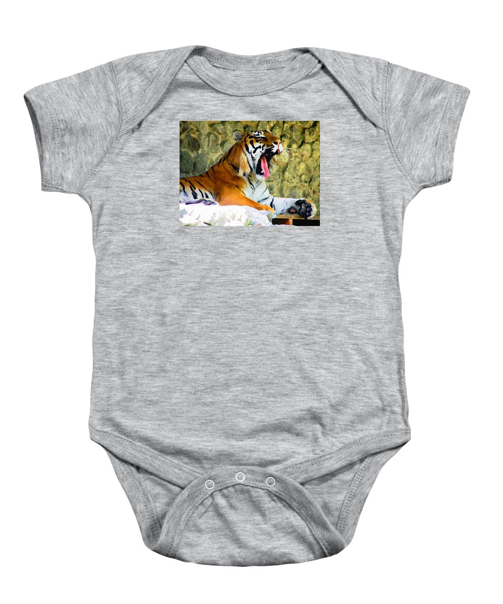 Tiger Baby Onesie featuring the photograph Tiger by Oleg Zavarzin