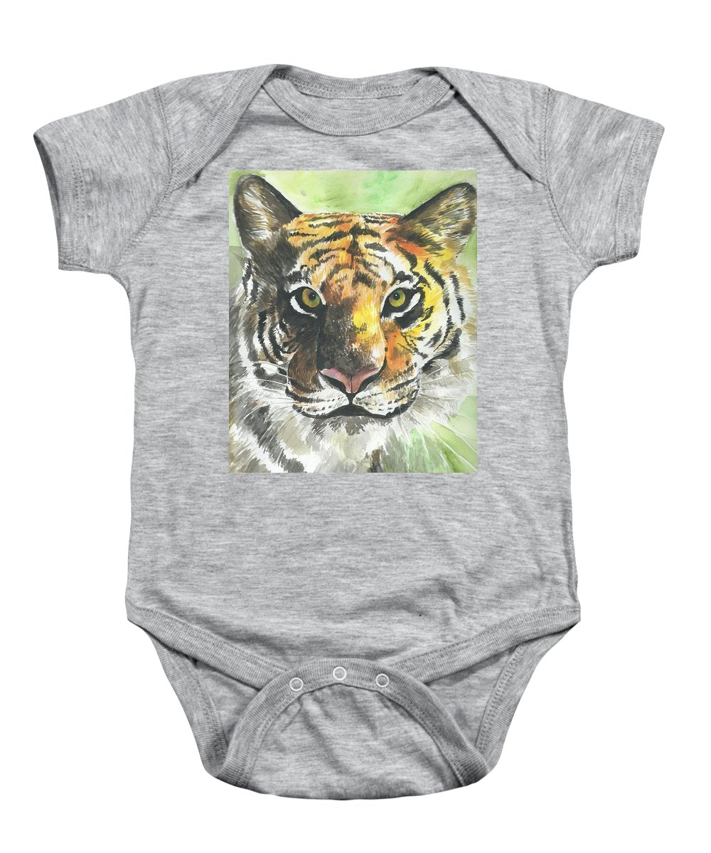Tiger Baby Onesie featuring the painting Tiger by Gayatri Ketharaman