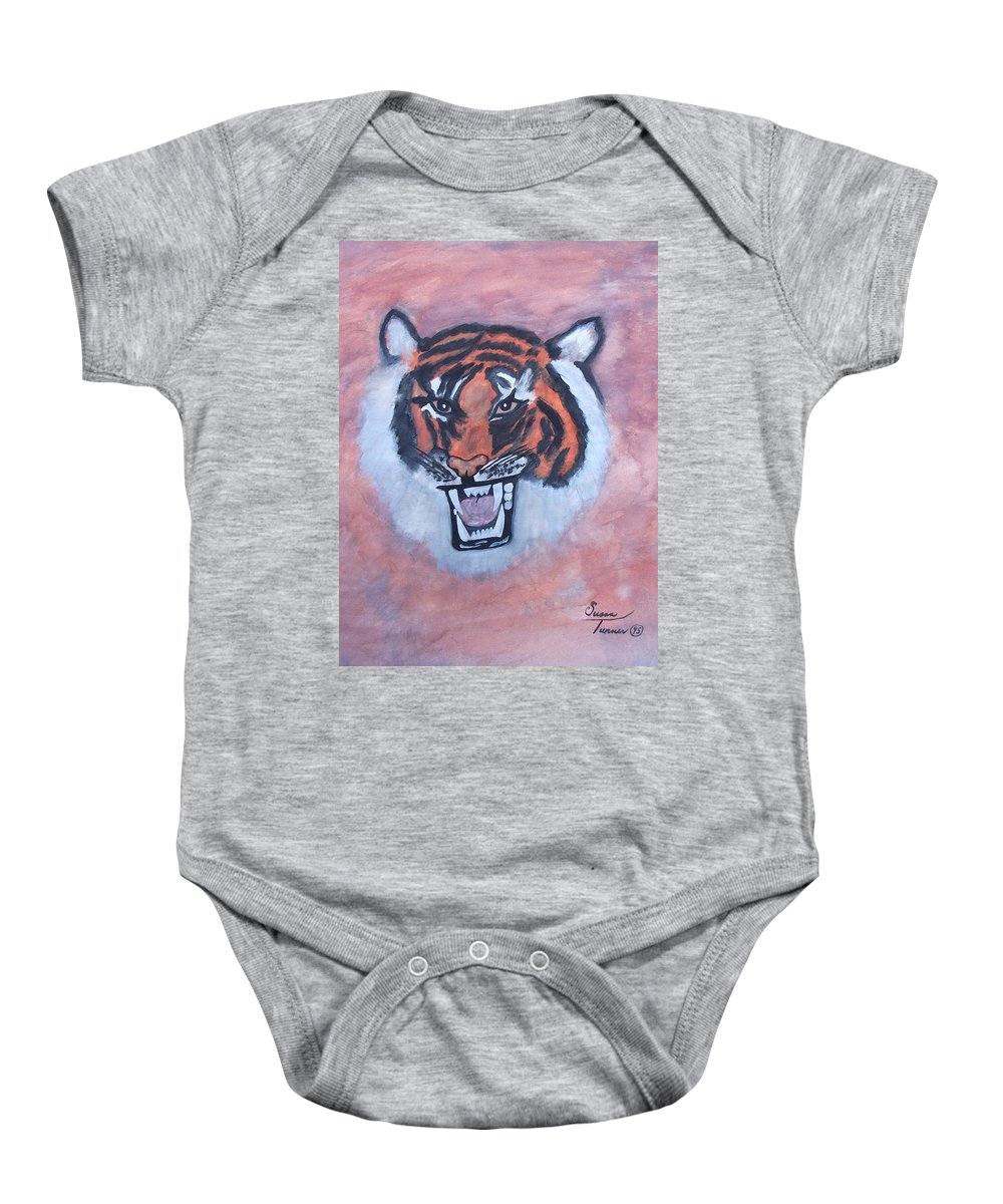 Watercolor Baby Onesie featuring the painting Tiger by Susan Turner Soulis