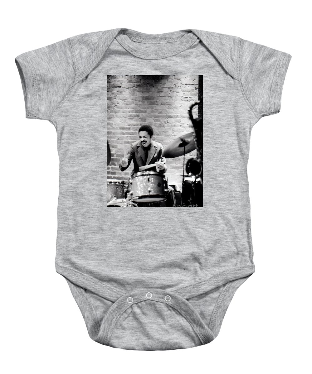 Drummer Baby Onesie featuring the photograph Tony Williams At The Penthouse by Dave Coleman
