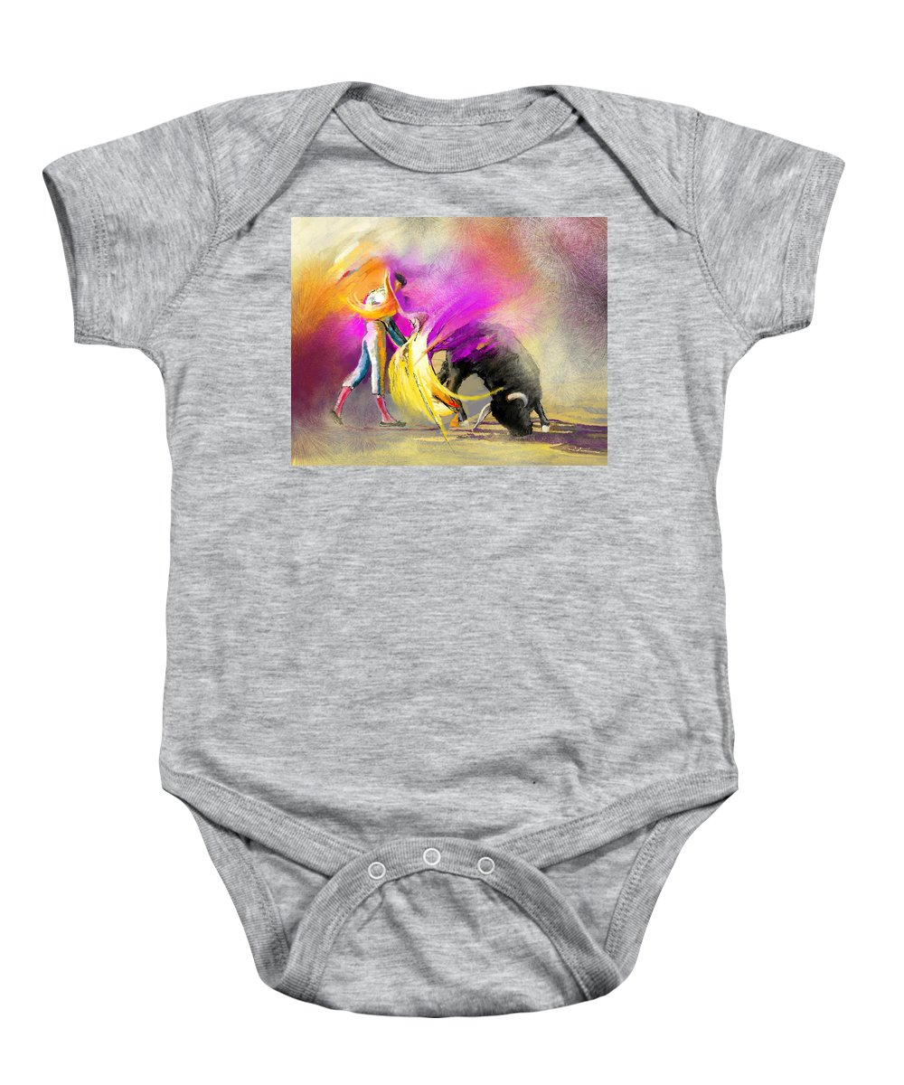 Bullfight Baby Onesie featuring the painting Toroscape 52 Bis by Miki De Goodaboom