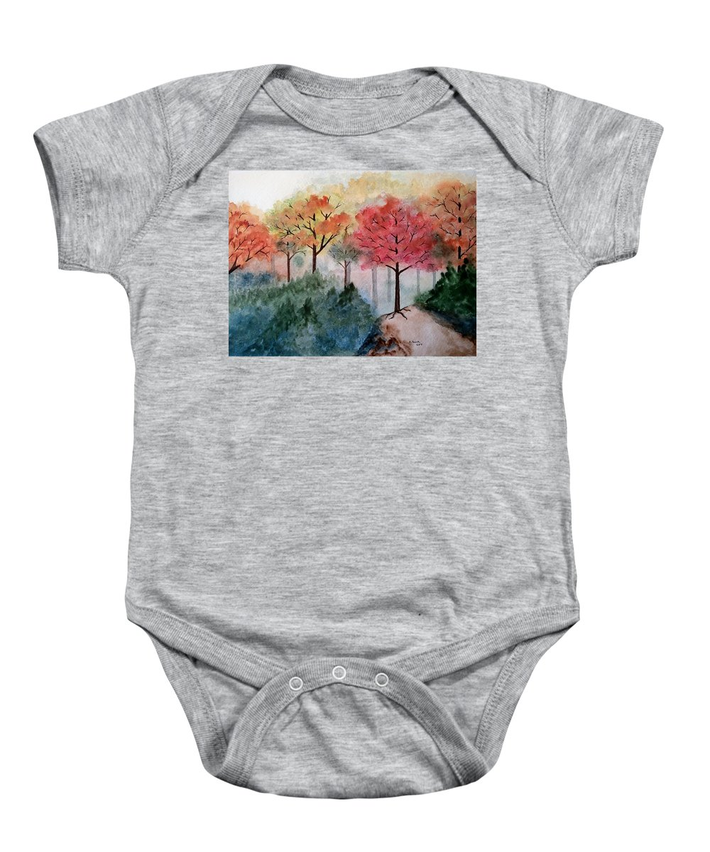 Landscape Baby Onesie featuring the painting Trail's End by B Kathleen Fannin