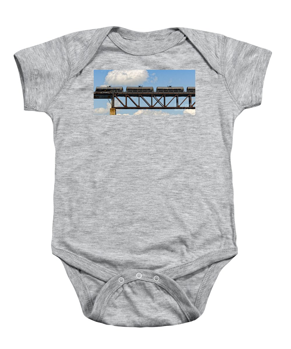 Train Baby Onesie featuring the photograph Train Cars On The Bridge by Les Palenik