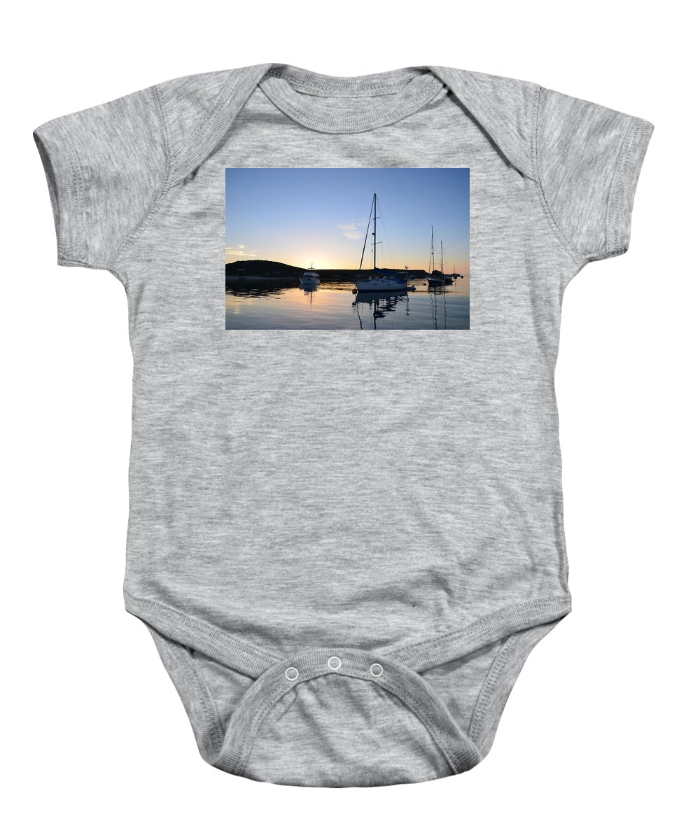 Yacht Baby Onesie featuring the photograph Tranquil Moorings by Malcolm Snook