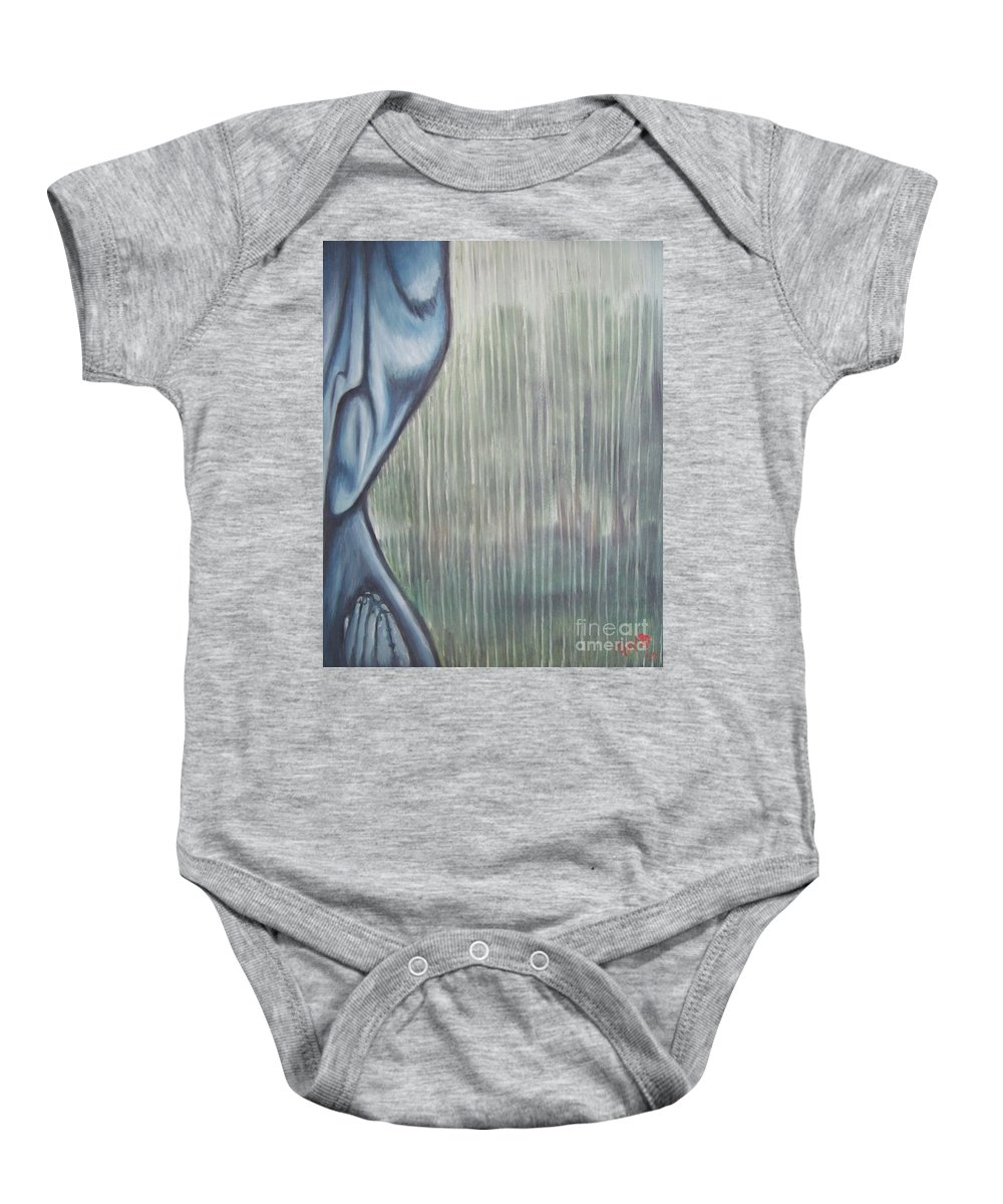 Tmad Baby Onesie featuring the painting Tranquil Rain by Michael TMAD Finney