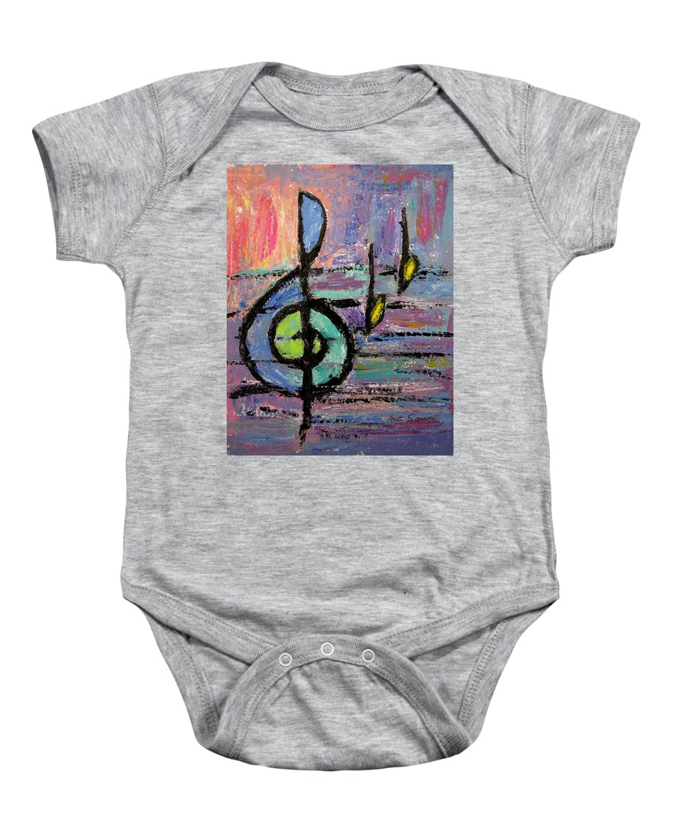 Music Baby Onesie featuring the painting Treble Clef by Anita Burgermeister