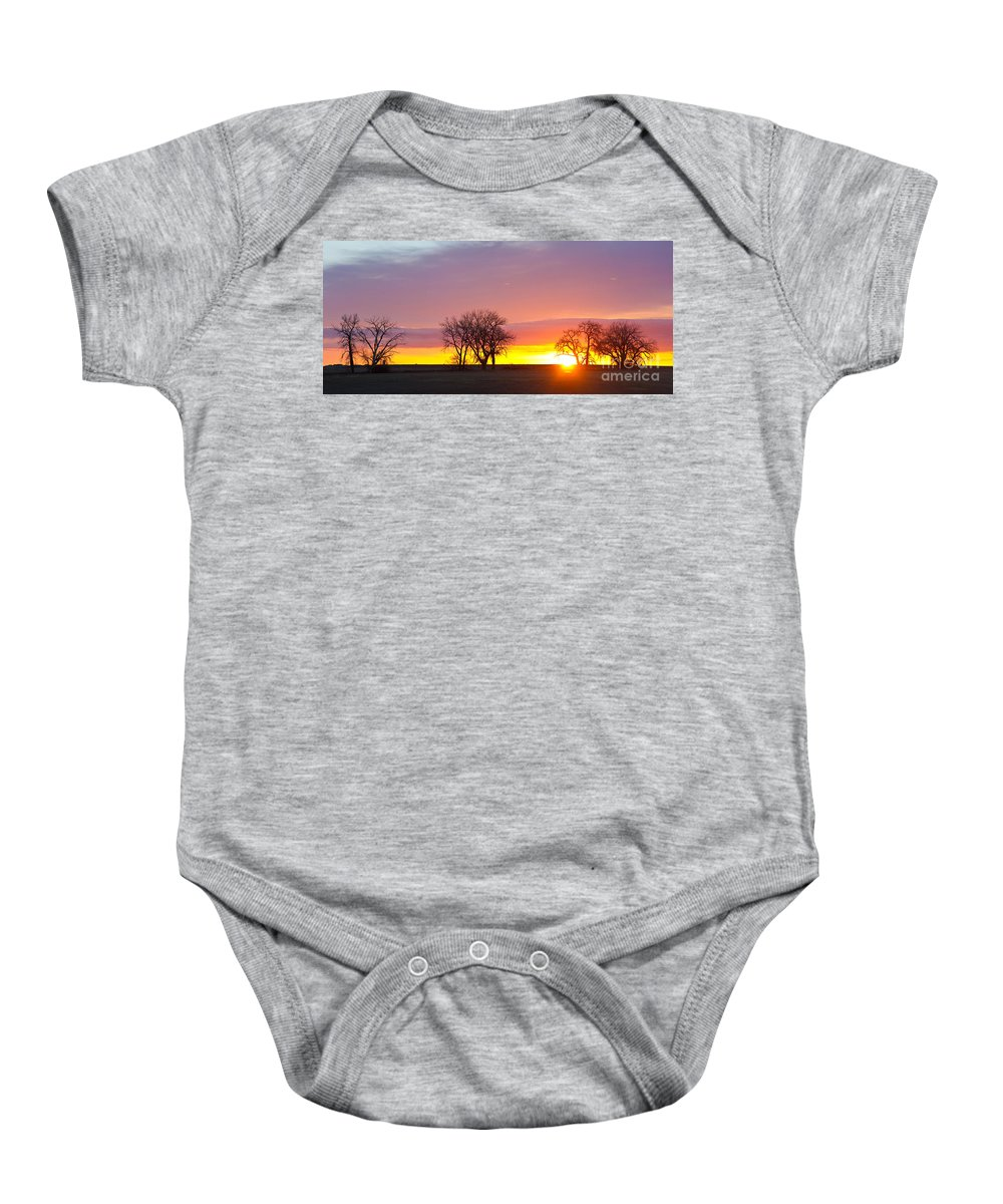 Sunrise Baby Onesie featuring the photograph Trees Watching The Sunrise Panorama View by James BO Insogna