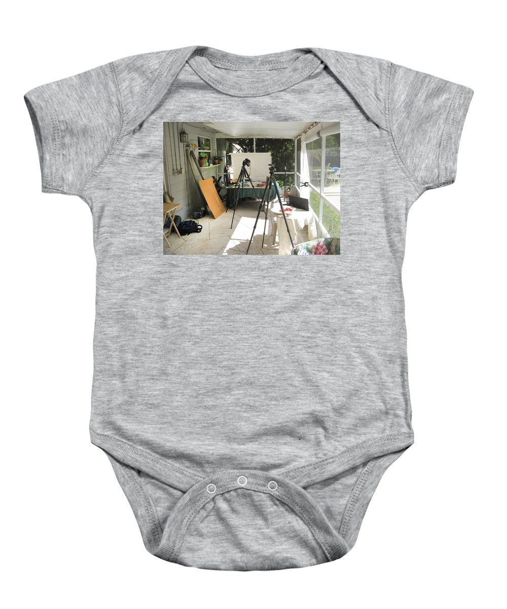 Tripods Baby Onesie featuring the photograph Tripods And Set Up by Rich Franco