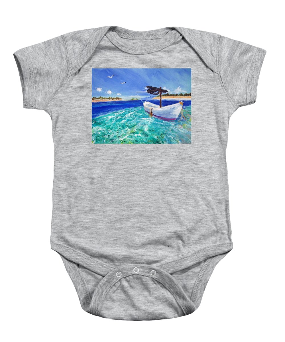 Seascape Baby Onesie featuring the painting Tropic Breeze by Robert Gross