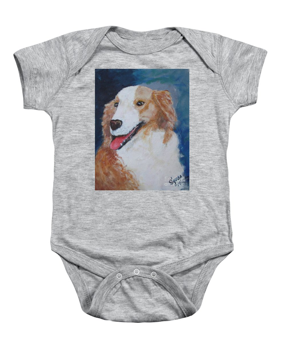 Dogs Baby Onesie featuring the painting Tucker by Shelley Jones