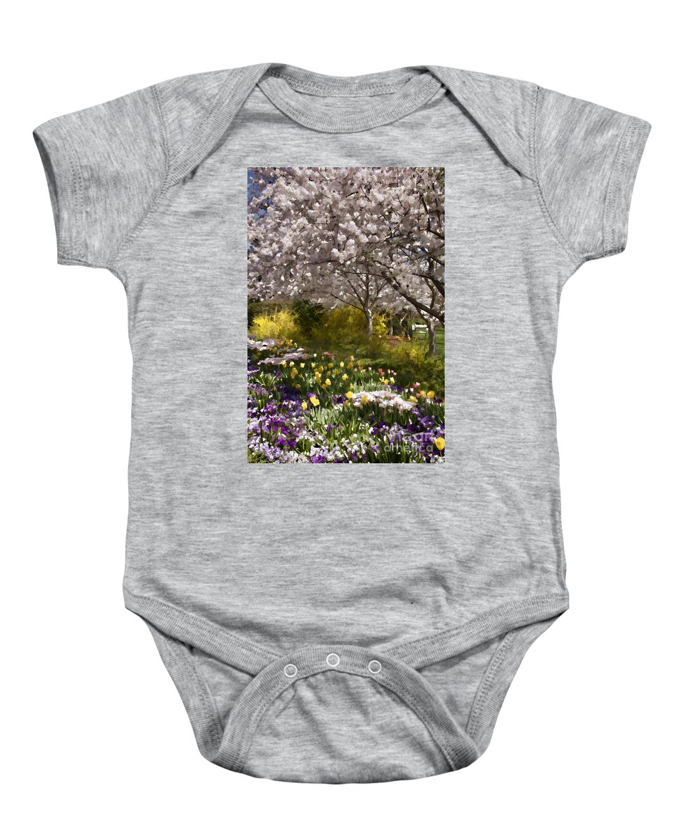 Tulips Baby Onesie featuring the photograph Tulips And Other Spring Flowers At Dallas Arboretum by Douglas Barnard