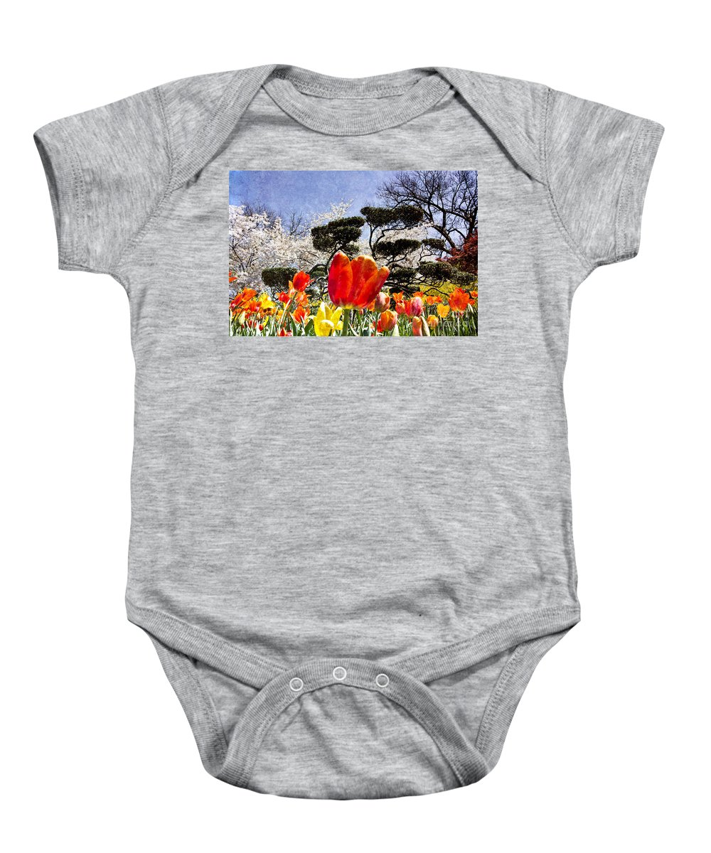 Tulips Baby Onesie featuring the photograph Tulips At Dallas Arboretum V48 by Douglas Barnard