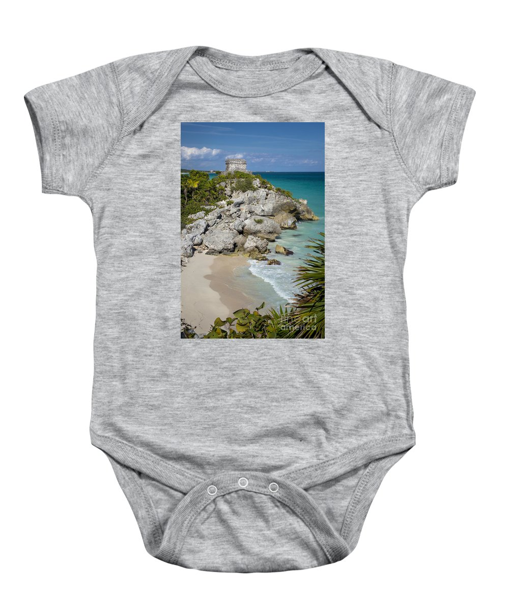 Ancient Baby Onesie featuring the photograph Tulum - Mayan Temple by Brian Jannsen
