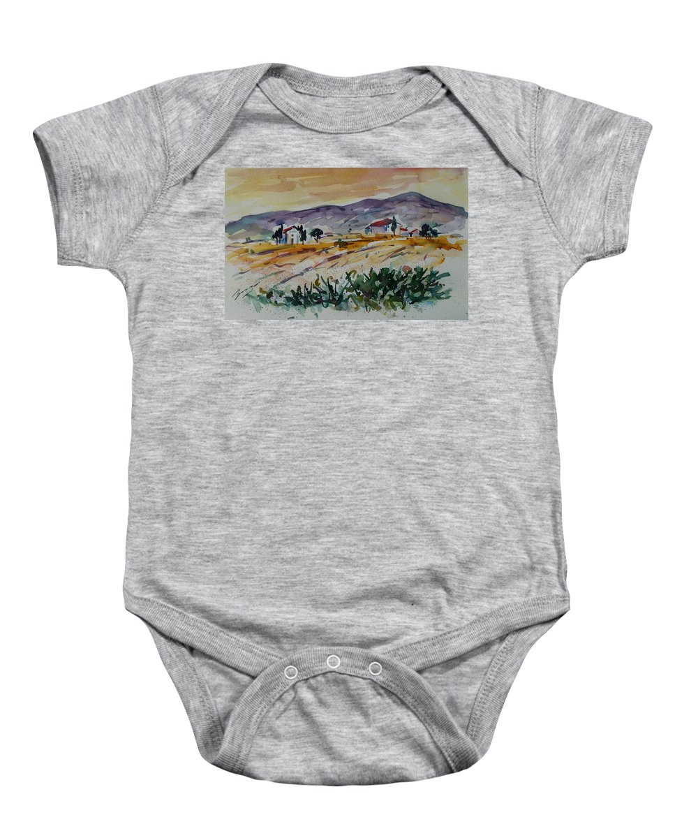 Landscape Baby Onesie featuring the painting Tuscany Landscape 1 by Xueling Zou