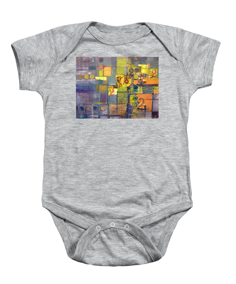 Number Baby Onesie featuring the painting Twice by Karin Husty