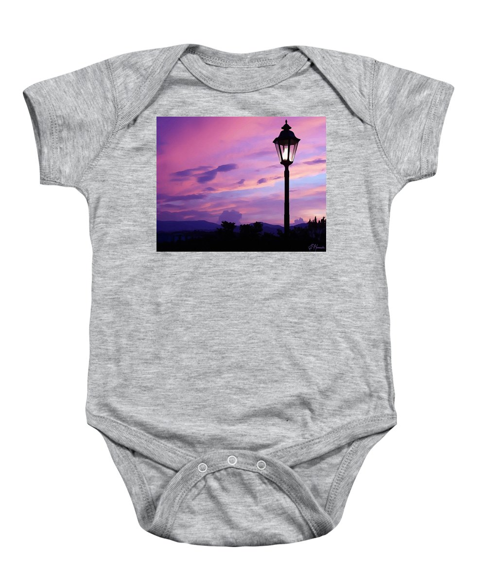 Twilight Time Baby Onesie featuring the painting Twilight Time by Ellen Henneke