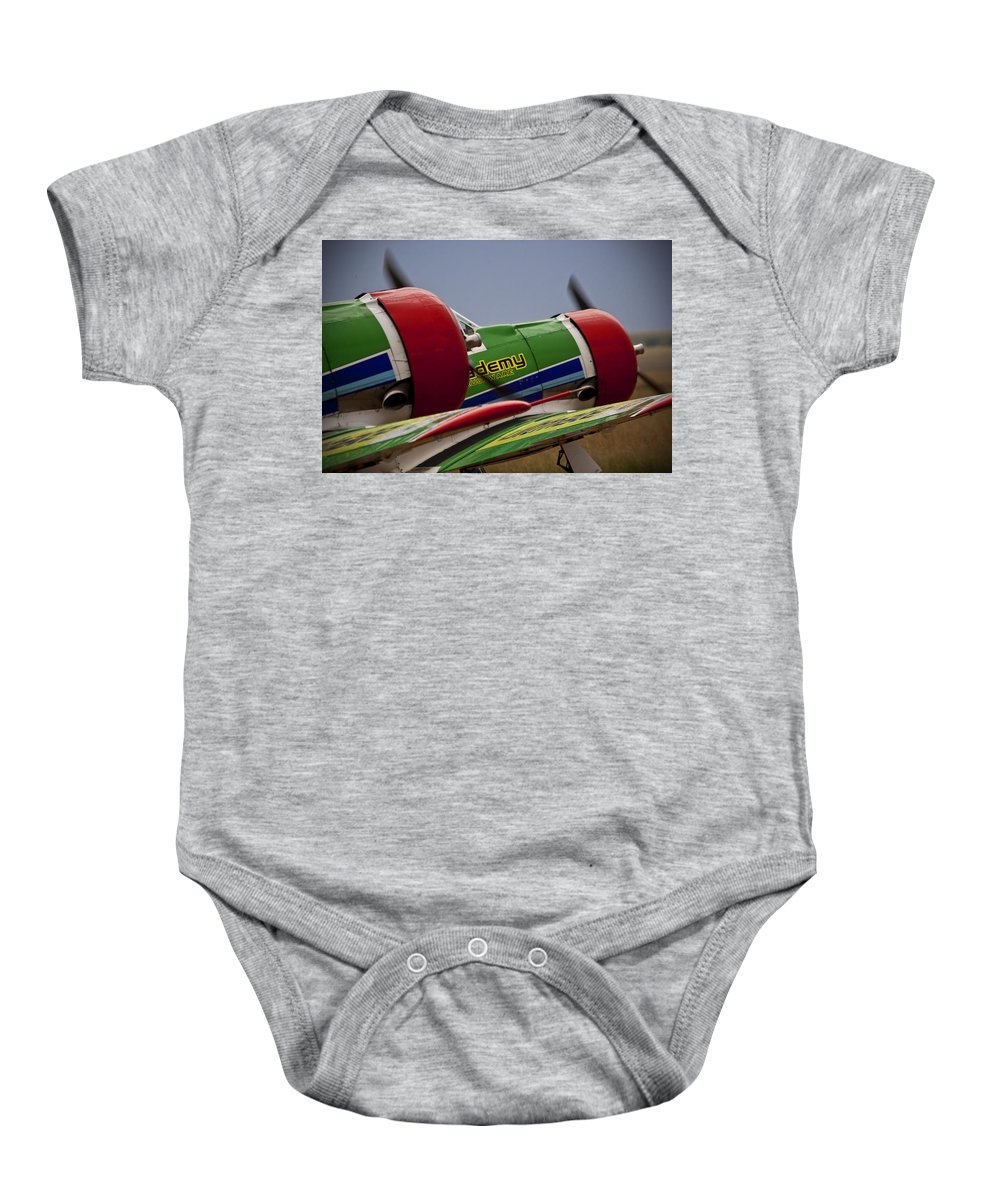 North American T-6g Texan (harvard) Baby Onesie featuring the photograph Twin Blades by Paul Job