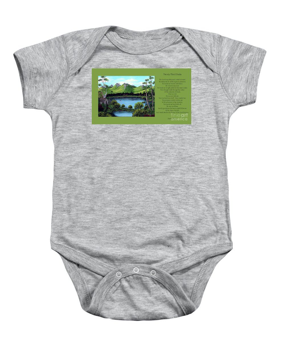 Twenty Third Psalm Baby Onesie featuring the painting Twin Ponds And 23 Psalm On Green Horizontal by Barbara Griffin