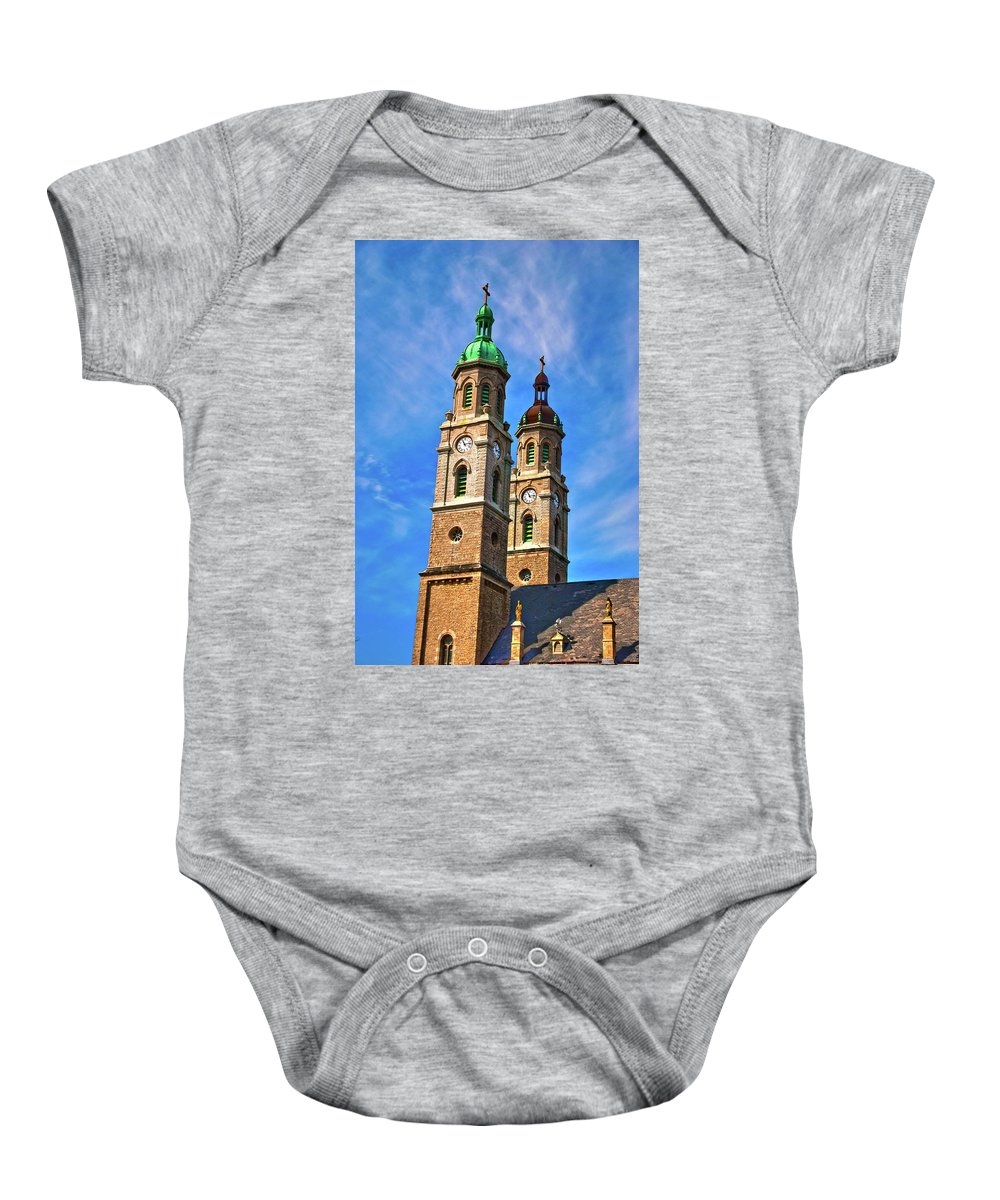Architecture Baby Onesie featuring the photograph Twin Towers by Guy Whiteley