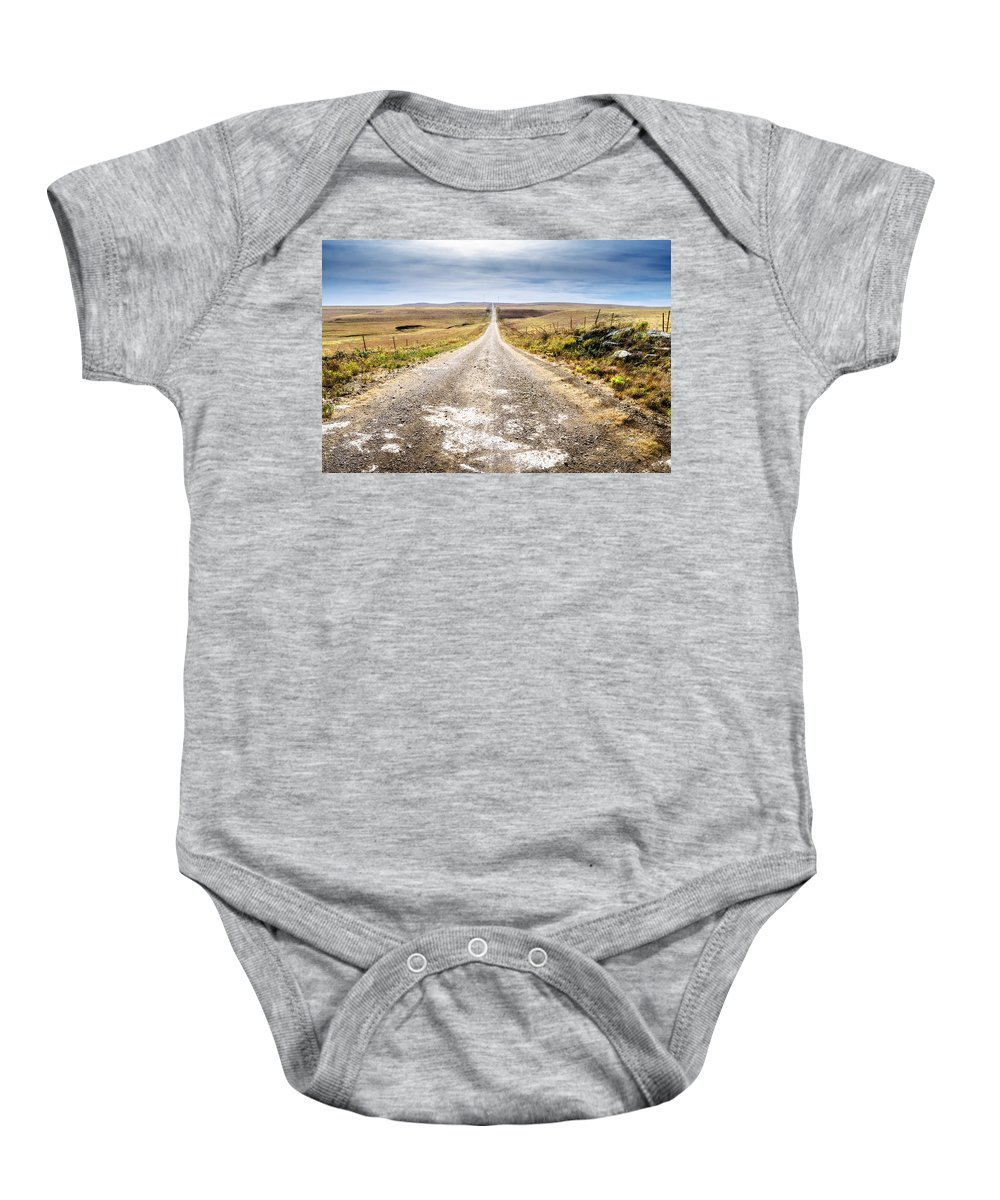 Flint Hills Baby Onesie featuring the photograph Twin Towers Road by Eric Benjamin