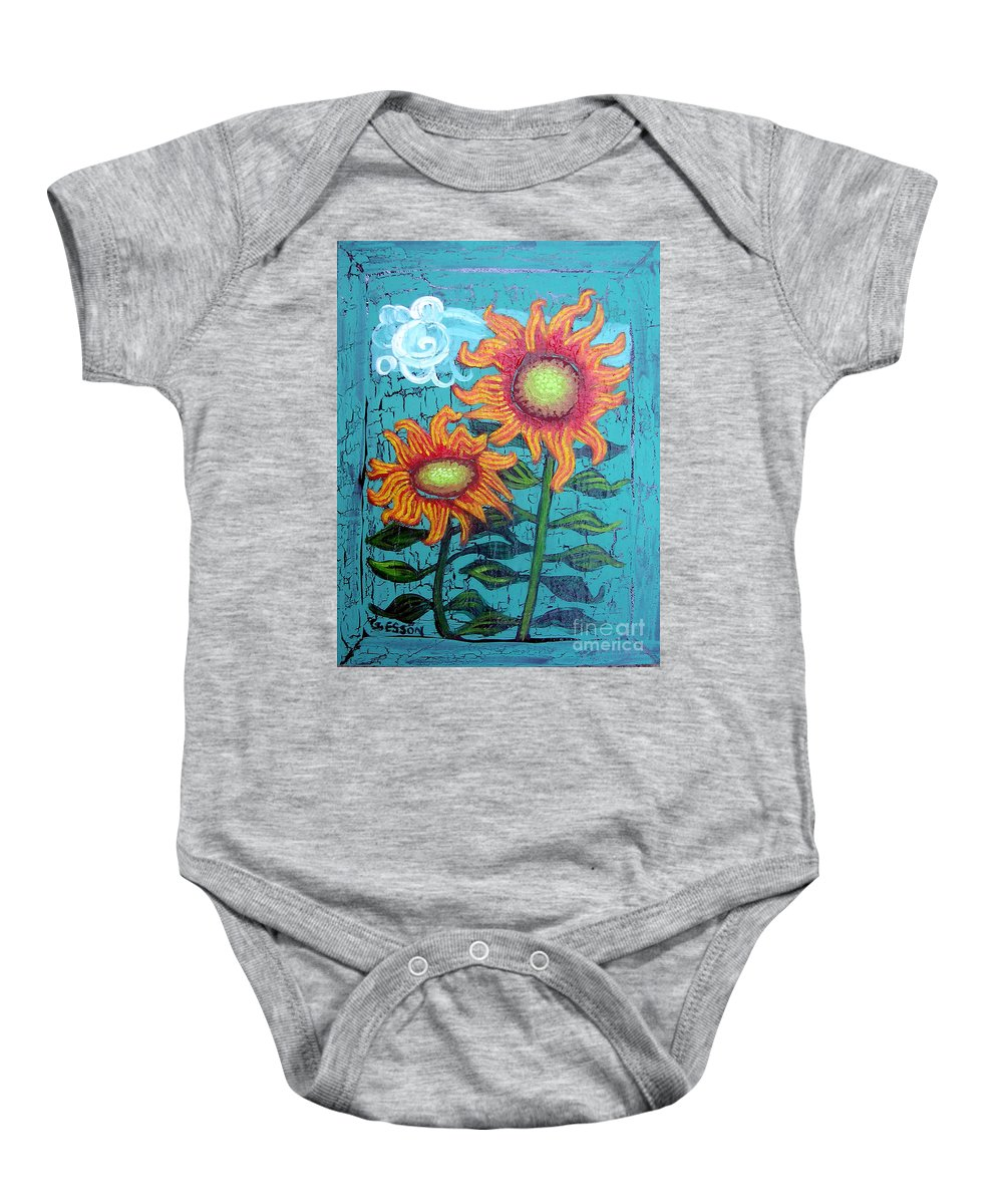 Sunflower Baby Onesie featuring the painting Two Orange Sunflowers by Genevieve Esson