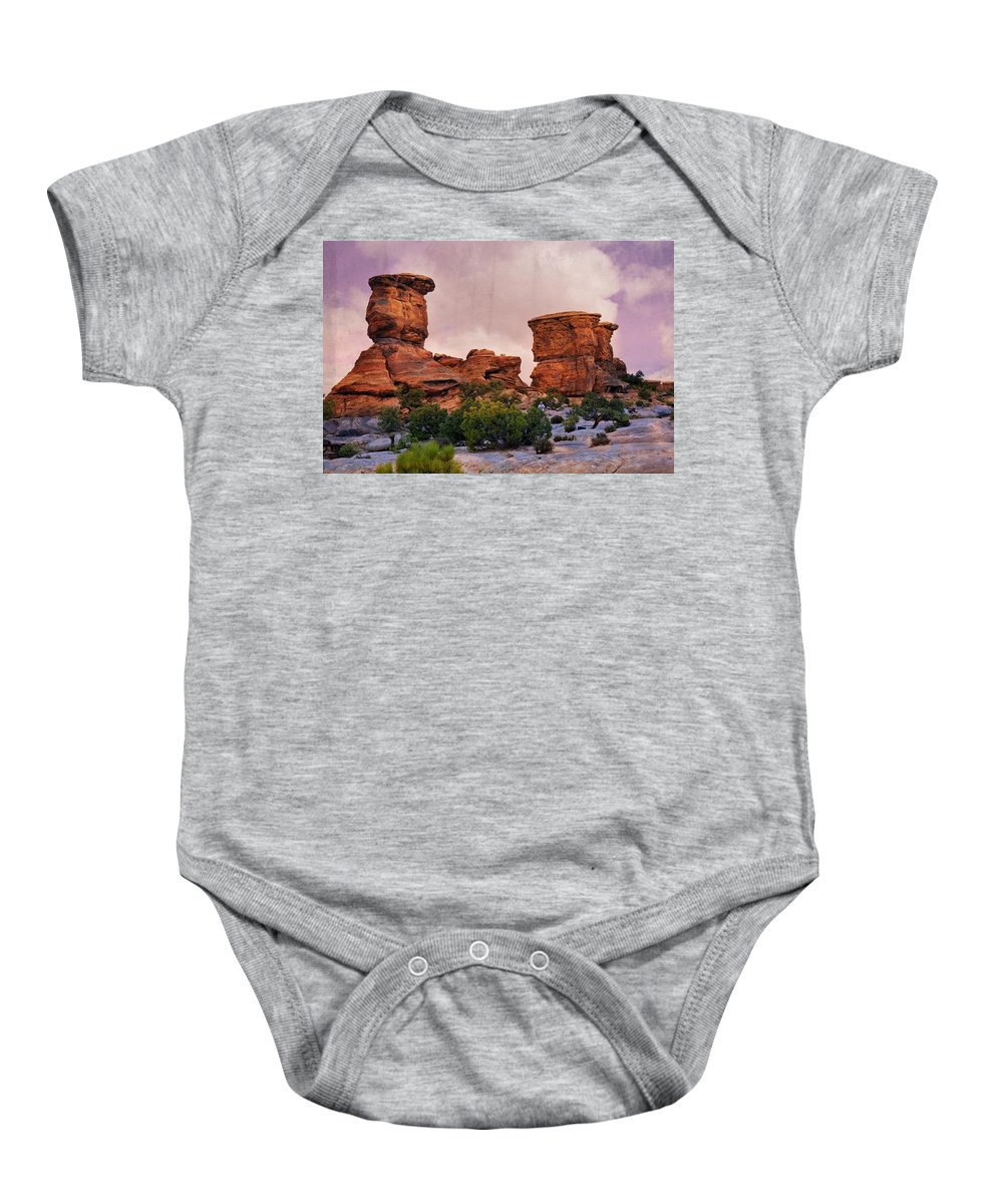 Canyonlands National Park Baby Onesie featuring the photograph Two Towers by Marty Koch