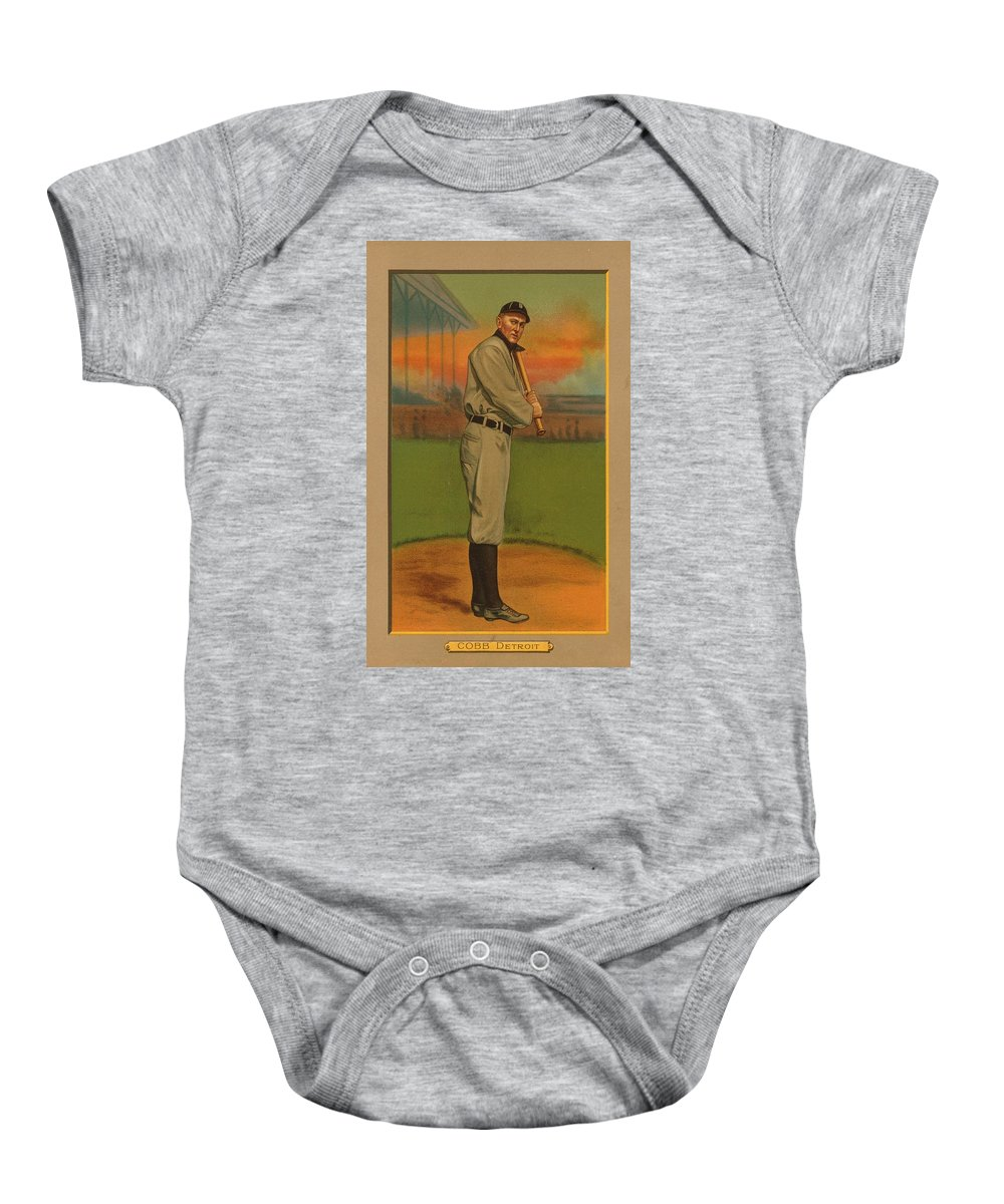 Detroit Tigers Baby Onesie featuring the painting Ty Cobb Circa 1911 by George Pedro