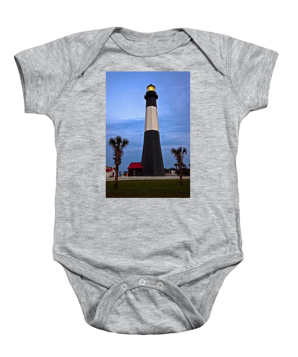 Tybee Island Baby Onesie featuring the photograph Tybee Light And Palms by Diana Powell