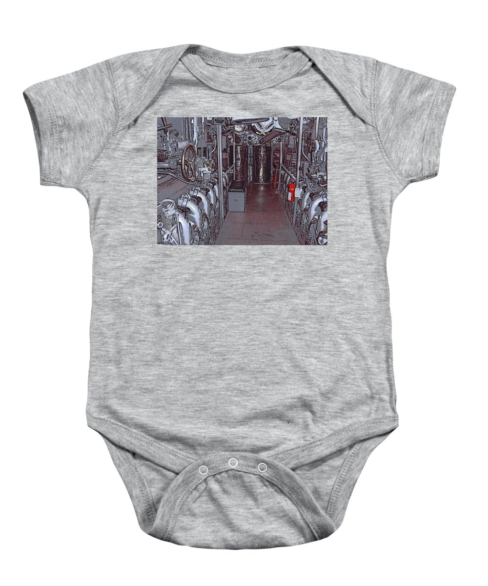 Engines Baby Onesie featuring the photograph U S S Bowfin Submarine Engine Room by Daniel Hagerman