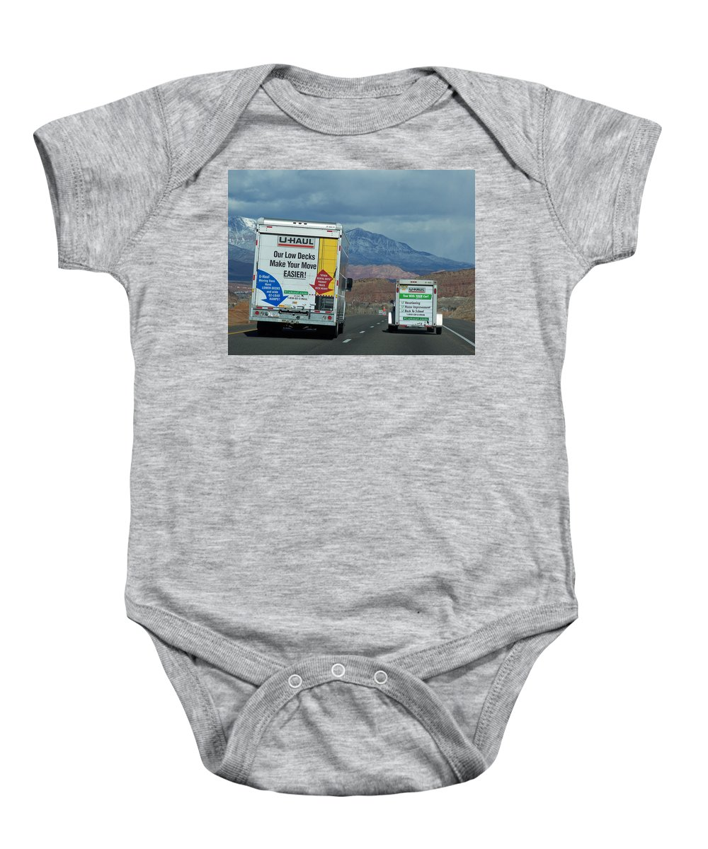Moving Truck Baby Onesie featuring the photograph Uhaul On The Move by Tikvah's Hope