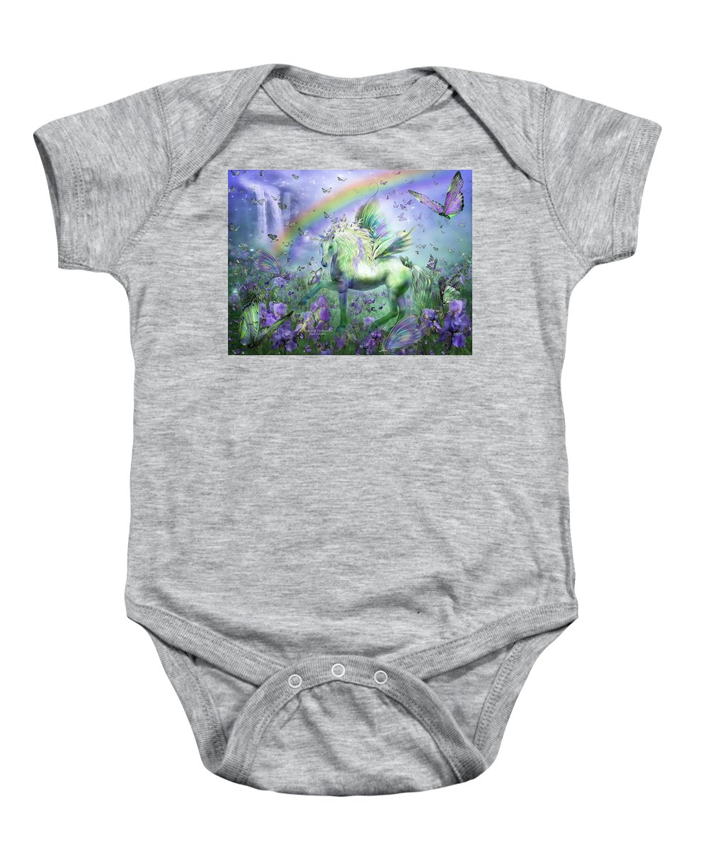 Unicorn Baby Onesie featuring the mixed media Unicorn Of The Butterflies by Carol Cavalaris