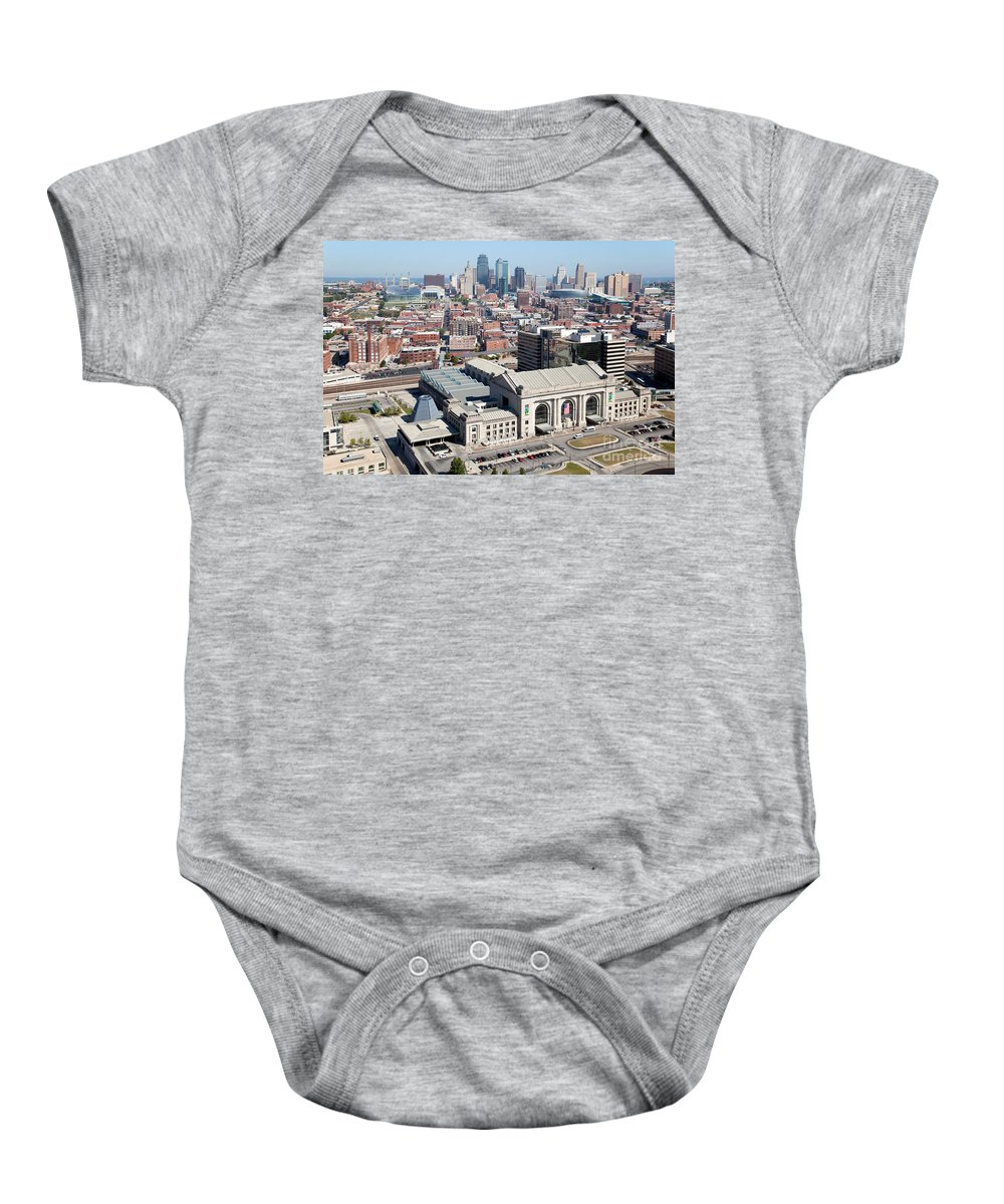 Aerial Baby Onesie featuring the photograph Union Station And Downtown Kansas City by Bill Cobb