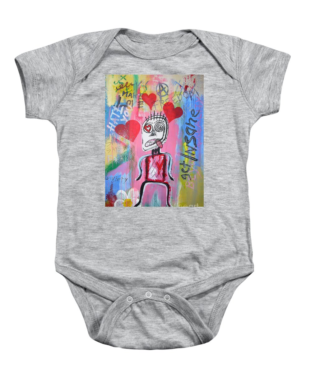 Untitled Baby Onesie featuring the painting Untitled Love by Bela Manson