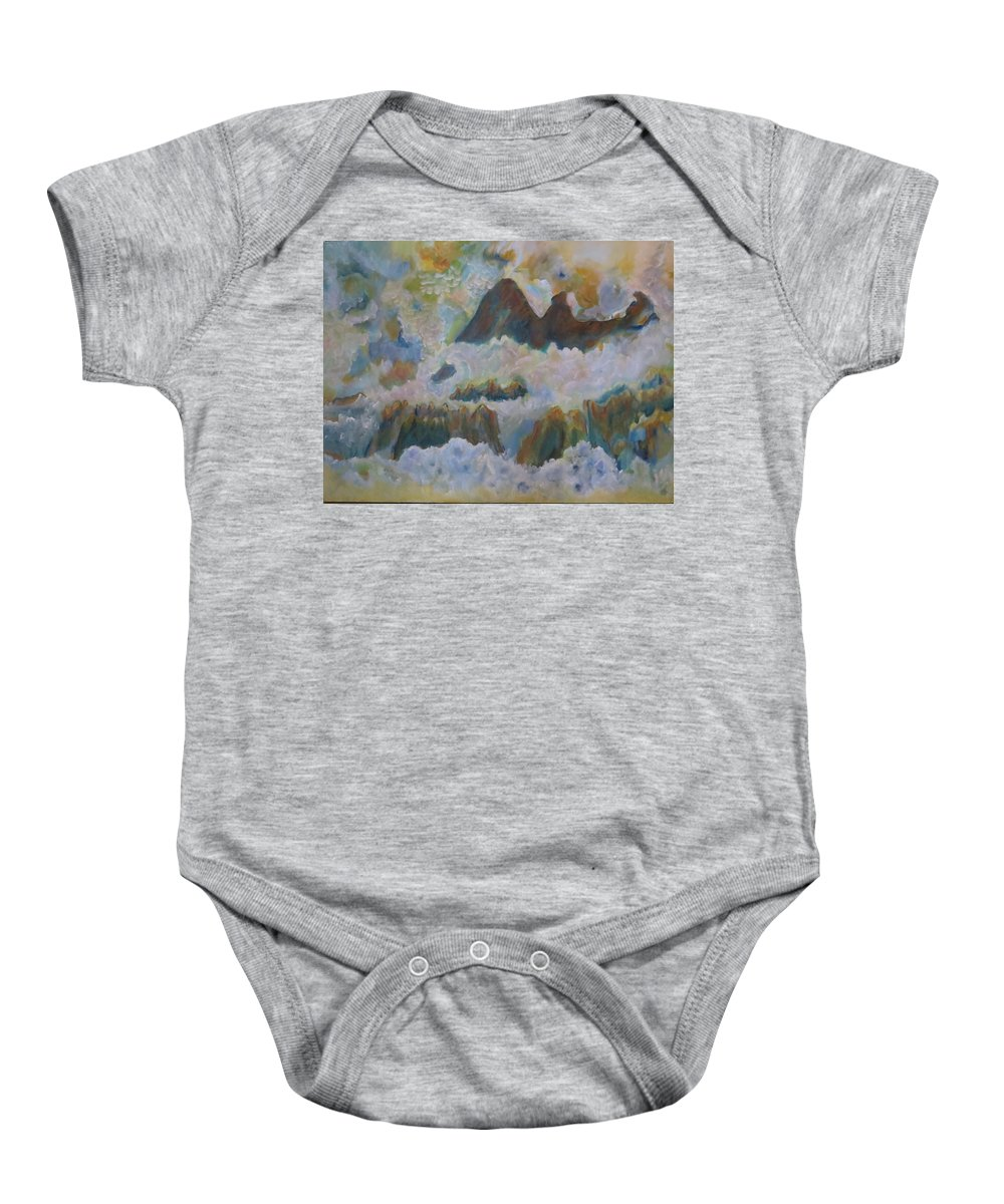 Abstract Baby Onesie featuring the painting Up On Cloud Nine by Soraya Silvestri