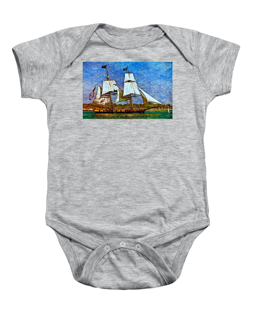 Brig Baby Onesie featuring the photograph Us Brig Niagra Texture Overlay by Steve Harrington