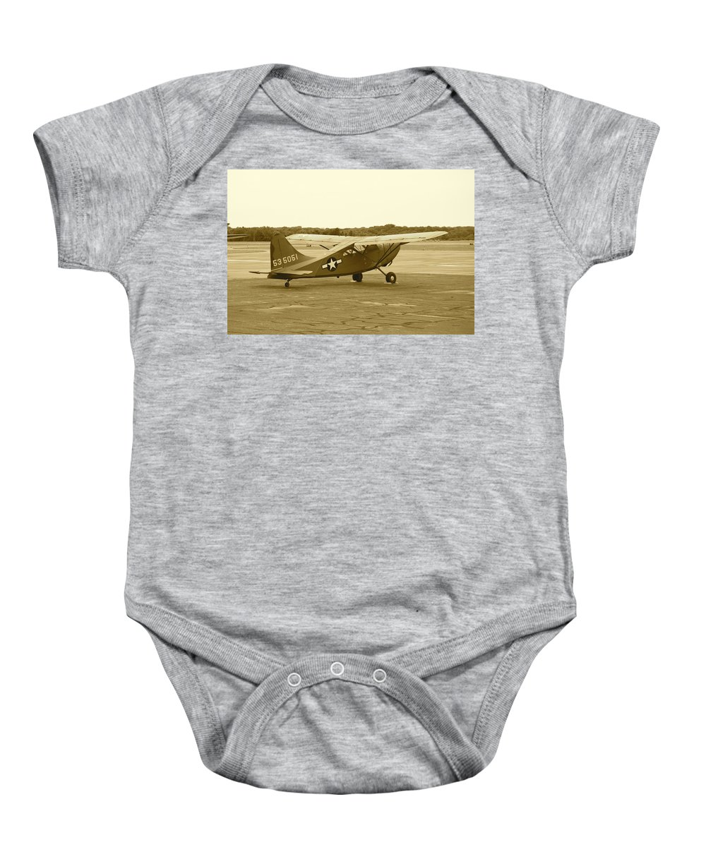 Antique Baby Onesie featuring the photograph U.s. Military Recon Single Engine Plane by Thomas Woolworth