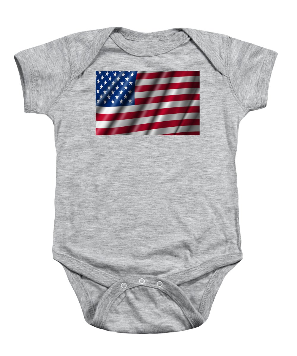 Usa Baby Onesie featuring the photograph Usa Stars And Stripes Flying American Flag by David Gn