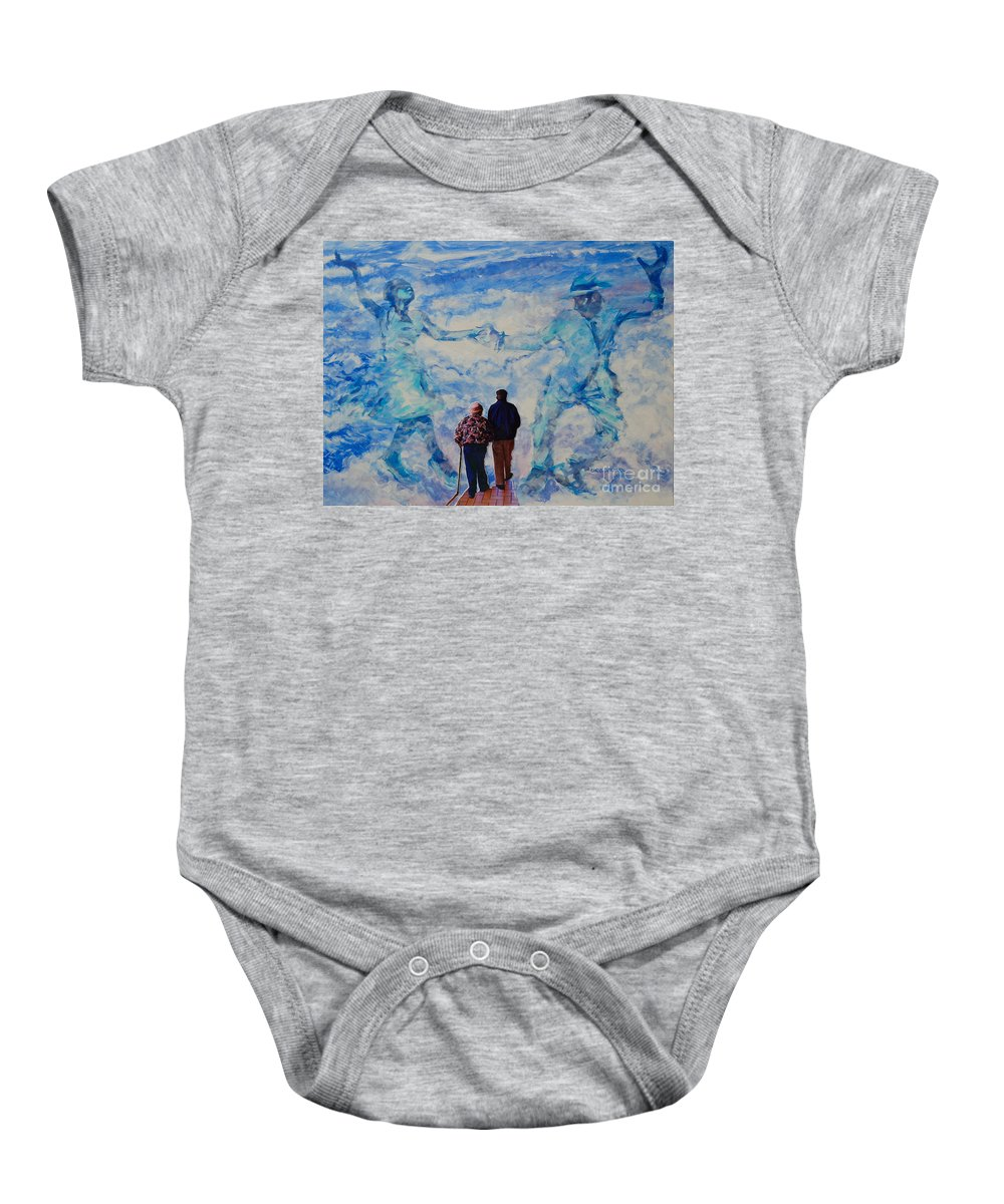Help Baby Onesie featuring the painting Use 2b So Ez - Still We Dance - The Long Good-bye by Charles M Williams