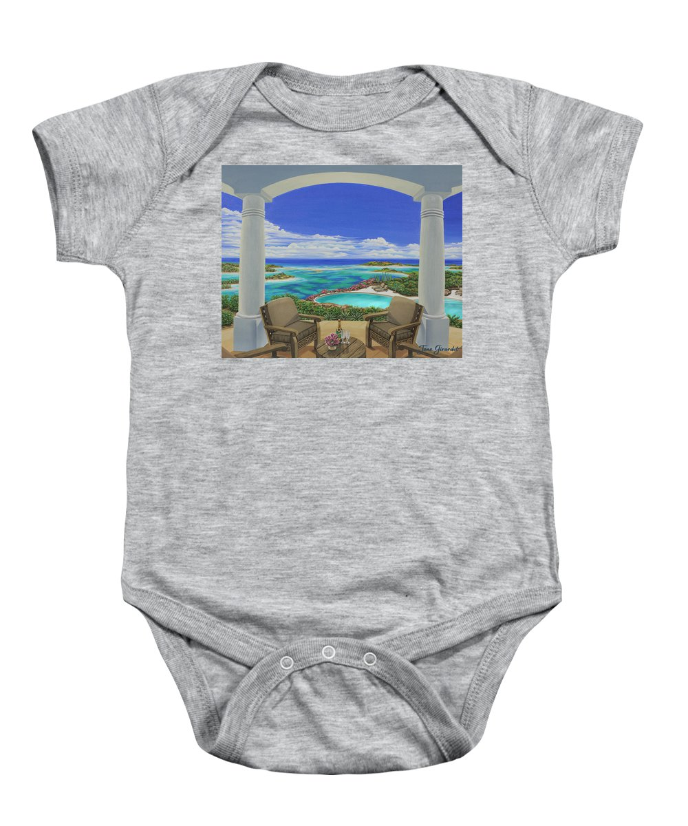 Ocean Baby Onesie featuring the painting Vacation View by Jane Girardot
